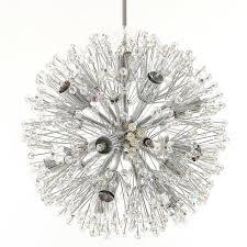 mid century modern emil stejnar sputnik chandelier crystal nickel chrome blowball austria 1960s