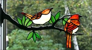 stained glass birds wrens with berries size 1 2 wide stained glass birds on a wire stained glass birds