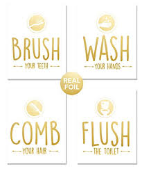 Amazon.com: Bathroom Quotes (4-Set) Rules Sayings Art Prints Gold ...