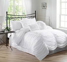 chic ruched ruffle textured comforter set white