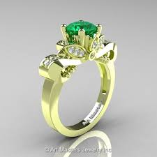 clic 18k green gold 1 0 ct emerald diamond solire enement ring r323 18kgrgdem