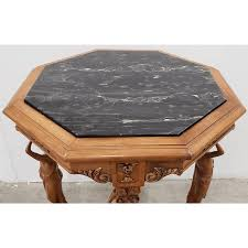 Check out our mid century coffee table selection for the very best in unique or custom, handmade pieces from our coffee & end tables shops. Vintage Carved Walnut Marble Top Octagon Side Table C 1940