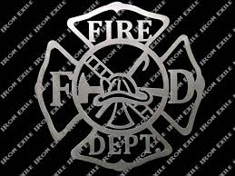 zoom on maltese cross firefighter metal wall art with fire department metal wall art sign