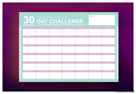 30 Day Challenge Monthly Calendar Layout 1 Buy This Stock Template