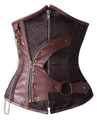 steampunk brown steel boned waist cincher underbust corset
