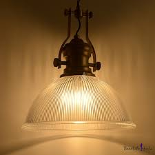 ribbed glass bowl suspension industrial loft style 1 light hanging pendant light in bronze
