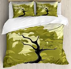 olive green duvet cover set japanese tree in jungle abstract nature in summer season decorative bedding set with pillow shams olive green black pale