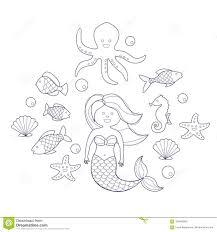 Sirena Ed Animali Di Mare Libro Da Colorare Per I Bambini