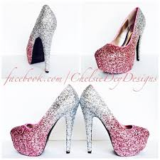 heels for a wedding. glitter high heels - blush pink pumps light silver ombre platform sparkly wedding shoes prom · chelsie dey designs online store for a