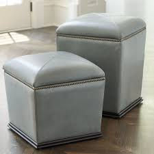 Ballard Designs Footstools Tapered Leather Storage Stool Chair Height