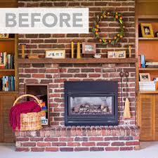Painting Brick Fireplace  From White To Beautiful Brownstone How To Clean Brick Fireplace