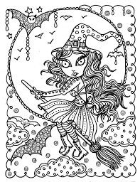 Cute Witch Halloween Coloring Page Fun