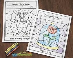 Coloring pages for learning numbers and colors for preschool and kindergarten. Free Beauty And The Beast Color By Number Worksheets