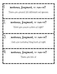 Sentence Fragments Sentence Fragment Or Run On Owl Facts Task Cards By Revenge Of