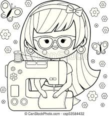 woman seamstress using her sewing machine coloring book page csp53584432