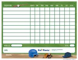 Baseball Hitting Charts Printable Kids Printable Behavior Chart Sports Theme Kid Pointz