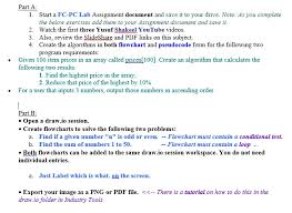 Flow Chart Io Solved Part A 1 Start A Fc Pc Lab Assignment Document A