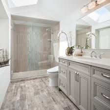 Alcove Shower - Mid-sized Transitional Master Gray Tile And Porcelain  Floor Houzz a
