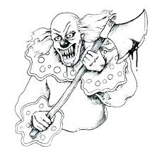 Scary Clown Coloring Pages Printable Page Evil Face Free Scar