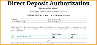 Sample Direct Deposit Authorization Forms Ach Form Template Payment ...