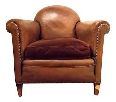 leather club chairs vintage. French Vintage Leather Club Chair Chairish Reproduction Chairs M