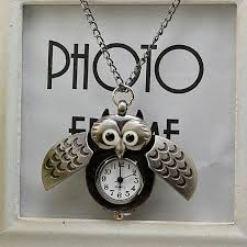vintage style retro slide owl pendant long necklace og pocket watch gift black