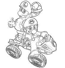 Super Mario E Luigi Su Una Moto Quad Disegno Da Colorare Gratis