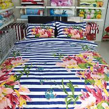 navy blue white raspberry red pink and green rugby stripe and flower print shabby chic full queen size bedding sets