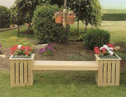 Small Picture Amish Pine Outdoor Potting Table Country bench Planters and