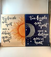 Quote Paintings True Friends Sun Moon Distance Canvas Painting SET OF 100 Hand 5