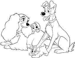 Lady And The Tramp Gather   Lady and the Tramp Coloring Pages ...