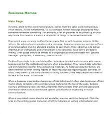 Informative Memo Sample Format Templates Memorandum Letter