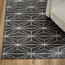Ivory and Gray Geometric Linear Pattern Area Rug