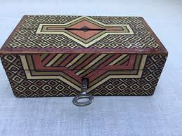 small art deco paper covered wooden money cash box with working lock key 1 of 9 see more