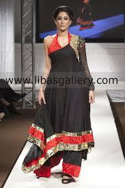 Waseem Noor Designer Black Meridian Anarkali Style Dress