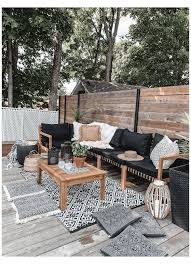 neutral boho patio furniture and decor