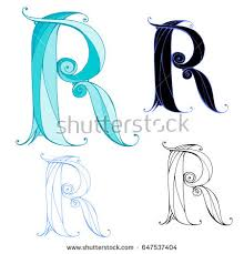 Letters For Tattoos Template Custom Hand Drawn Letter R Color Graphic Stock Vector 48 Shutterstock