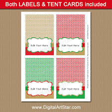 christmas placecard templates red green and gold christmas place card printable digital art star
