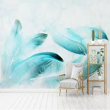 modern 3d wall murals wallpaper for wall 3d blue feather marble tv