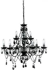 x large black 9 light arms hanging metal chandelier with beads crystals decor