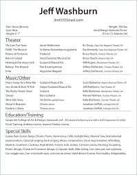 Theatre Resume Awesome Musical Theatre Resume Inspirational Free Acting Resume Template Of