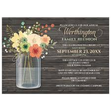 Invitations For Family Reunion Reunion Invitations Rustic Floral Wood Mason Jar 1