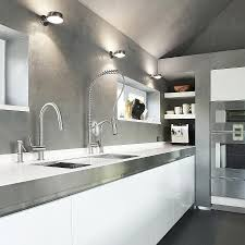 stainless steel modern kitchen design with white cabinets and