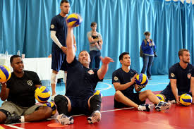 u s department of defense photo essay  members of the u s seated volleyball team practice before the start of the 2014 invictus games