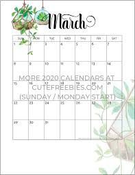 March 2020 Calendar Printable Plants Cute Freebies For You