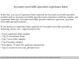 Accounts Receivable Specialist Resumes Accounts Receivable Specialist Experience Letter