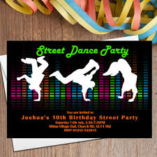part invites 10 street dance party invitations n104