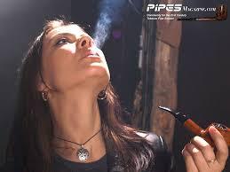 Female fetish pipe smoker