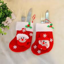household dining table set christmas snowman knife: christmas cutlery holder santa tableware set cover dining table knife fork restaurant enfeites tableware bags navidad