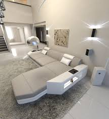 Details About Modern Fabric Sofa Dallas L Shape Designer Couch With Led Light